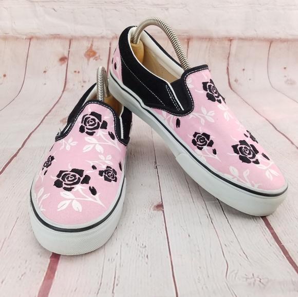 Vans Pink Rose Classic Slip On Sneakers